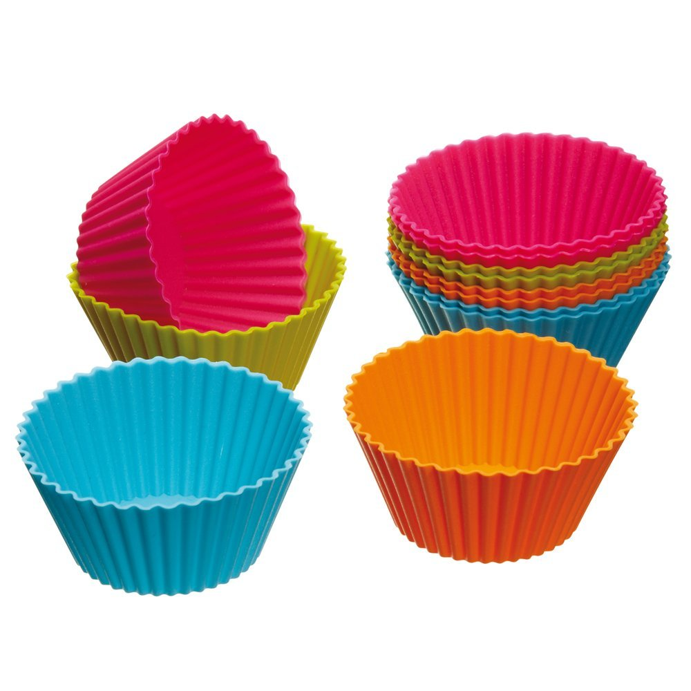 Mosunx Kitchen Craft Colourworks Silicone Cupcake Cases, Pack of 12