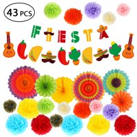 Cinco de Mayo Decorations - Fiesta Party Supplies Pack w/Colorful Paper Flowers, Hanging Paper Fans and Banner for Mexican Themed Party Decorations,Baby Shower, Bachelorette Party Carnivals - 43pcs