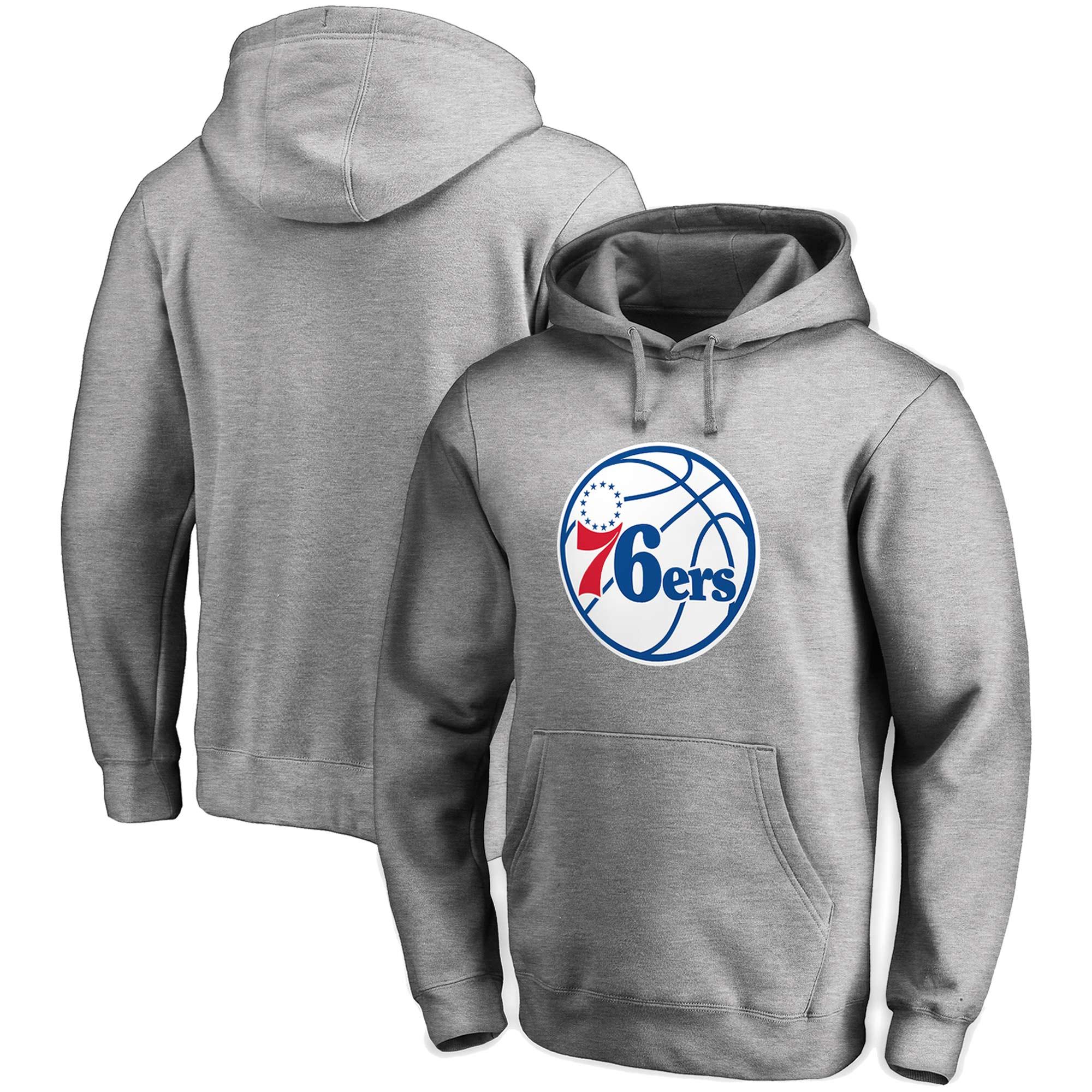 Philadelphia 76ers Fanatics Branded Primary Team Logo Pullover Hoodie - Heathered Gray