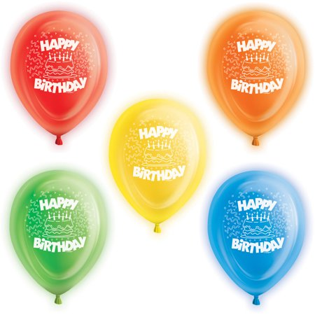 10 Happy Birthday Led Light Up Balloons Assorted 5ct Walmartcom