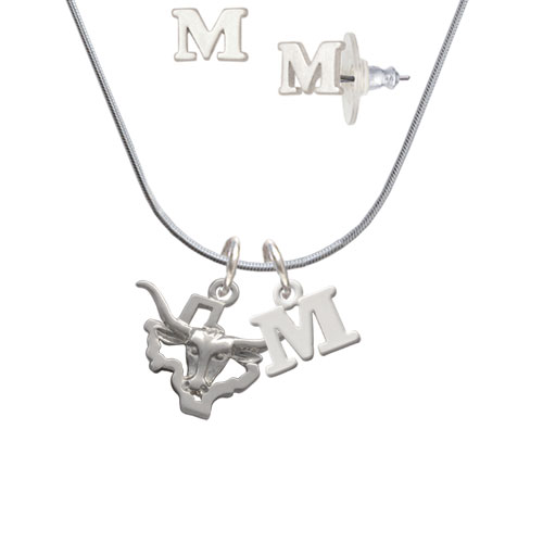 Longhorn - Texas - M Initial Charm Necklace and Stud Earrings Jewelry Set