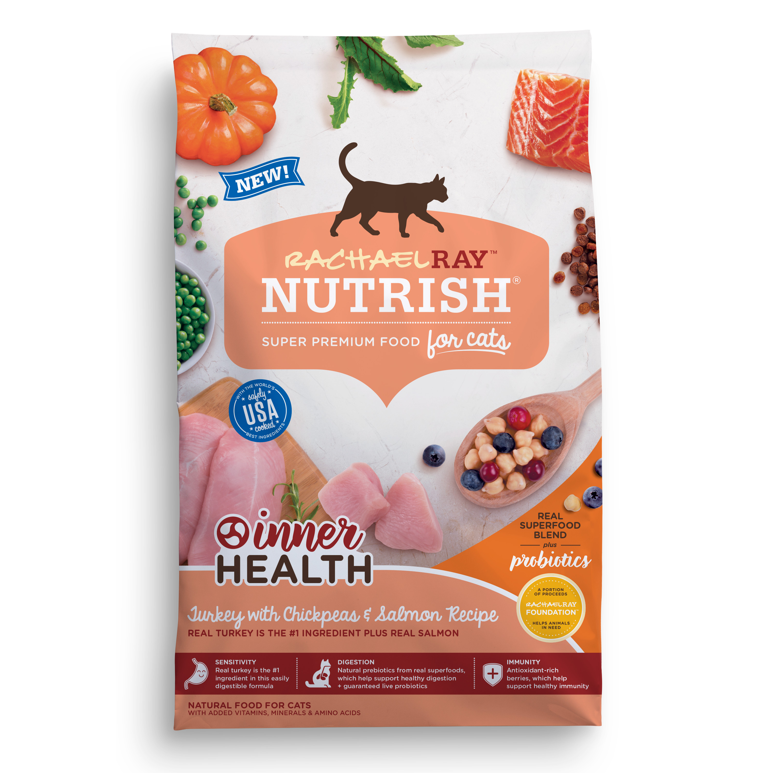 Rachael Ray Nutrish Inner Health Turkey, Chickpeas, & Salmon Natural Dry Cat Food (Various Sizes)