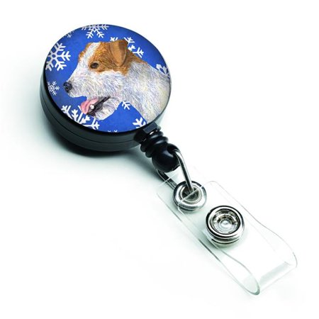 Jack Russell Terrier Winter Snowflakes Holiday Retractable Badge Reel - image 1 de 1