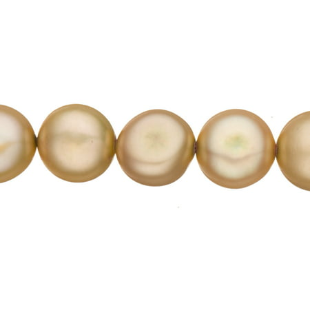 Cream Brown Freshwater Cultured Pearls Natural Button (Side-Drilled), B+ Graded, 6x4mm (Approx.), 15.5Inch Strings/63Pearls