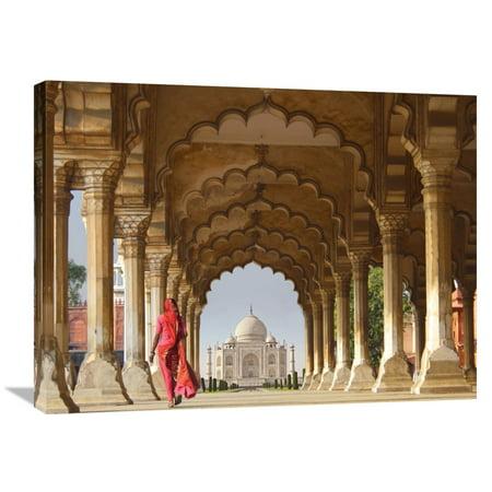 Global Gallery Pangea Images 'Woman in traditional Sari walking towards Taj Mahal' Canvas Wall