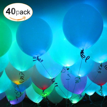 AGPTEK 40PCS Led Balloons Wedding Light Up Balloons with Ribbon for Party Birthday Christmas (Balloons With Designs)