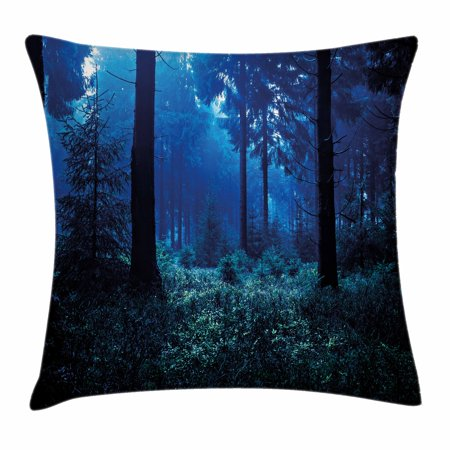 Night Throw Pillow Cushion Cover, Misty Nature Scene of Autumn Forest in Thuringia Germany Tranquil Woodland, Decorative Square Accent Pillow Case, 18 X 18 Inches, Blue Green White, by