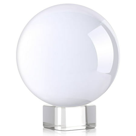 Amlong Crystal Clear Meditation K9 Crystal Ball 3.25 inch (80mm) for Photography, Lensball With Free Stand - Halloween Crystal Ball