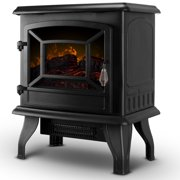 """DELLA 17"""" Freestanding Electric Fireplace Adjustable 3D Flames Portable Firebox with Logs Heater, 1400W"""