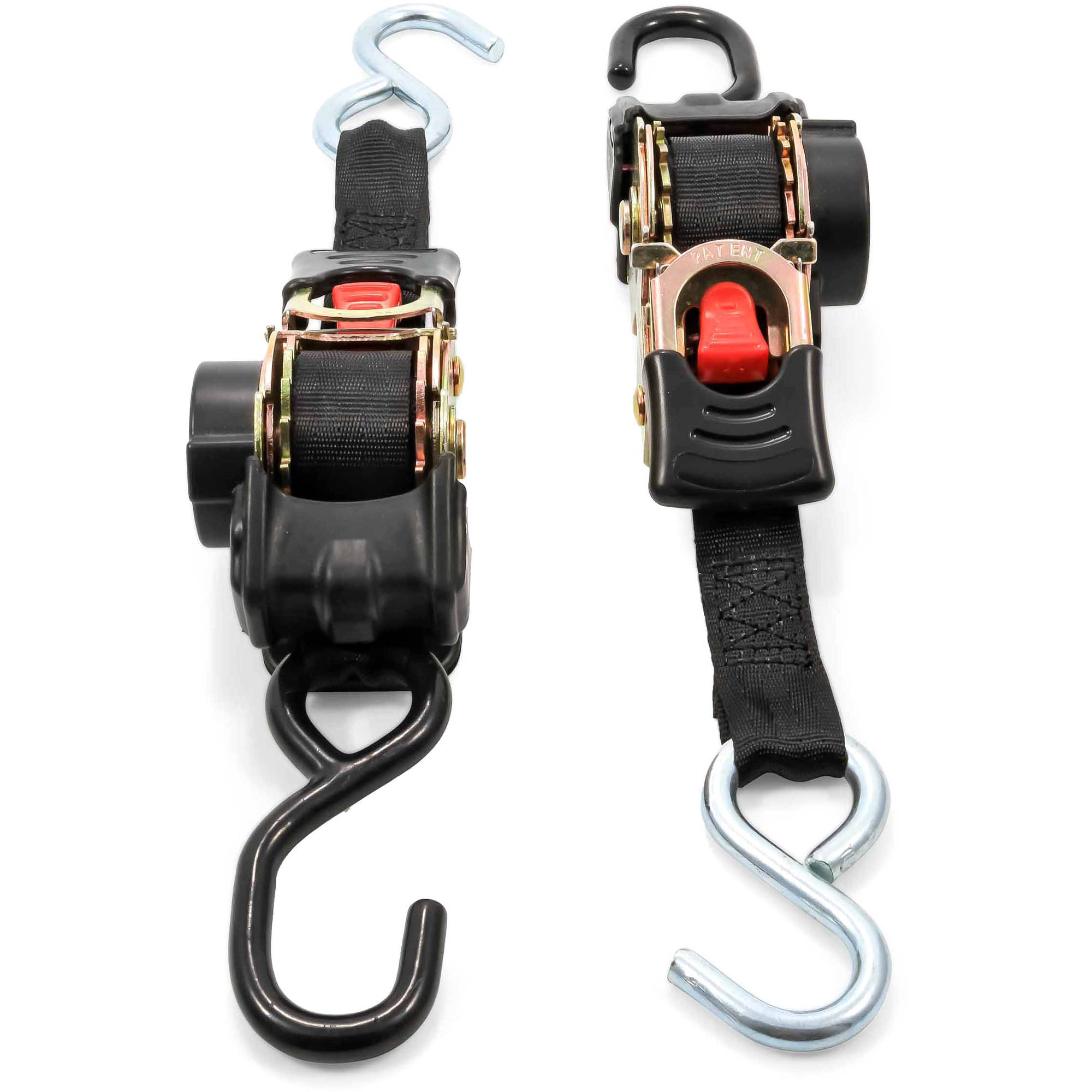 Camco 50033 Retractable Transom Tie Down Straps, 1 Width, 6 Dual Hooks