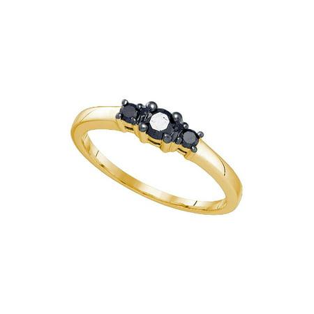10kt Yellow Gold Womens Round Black Color Enhanced Diamond 3-stone Bridal Wedding Engagement Ring 1/4 Cttw ()