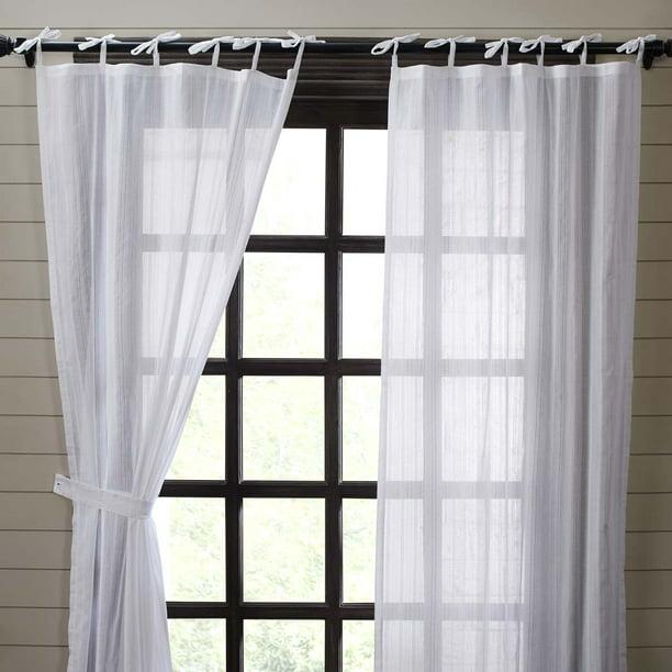Whisper White Farmhouse Curtains Cecilia Tie Top Cotton