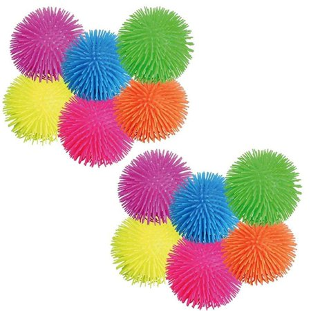 Puffer Balls - 12 Pack Assorted Colors, Blue, Green, Orange, Yellow, Pink And Purple, With Loop, For Kids Sensory Stress Relief, Therapy Toy Favor, Goody Bag Filler.