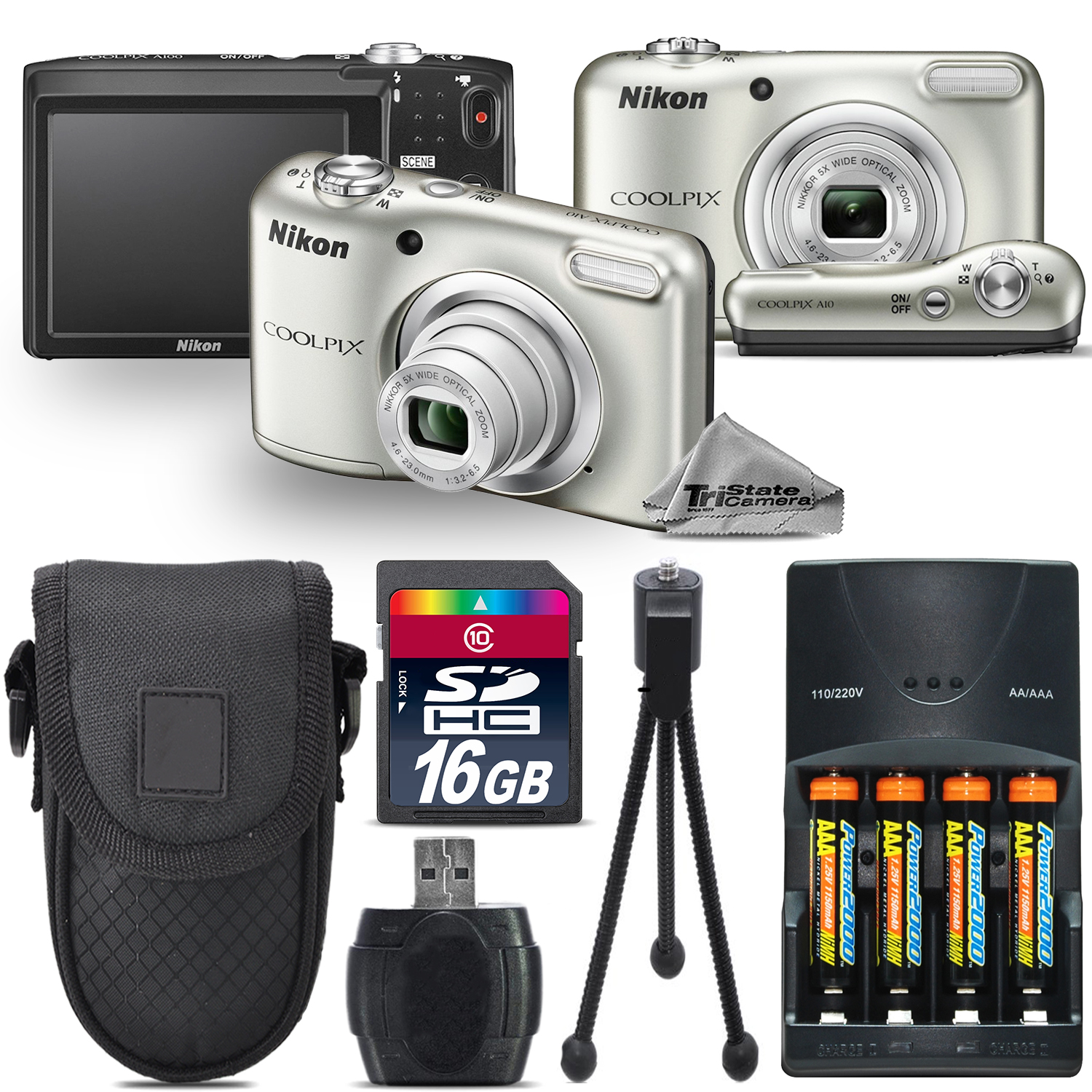 Nikon Coolpix A10 16.1MP Digital Camera Silver 5x Optical...
