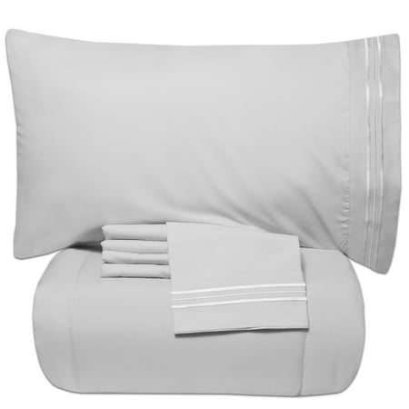 Luxury 5 Piece Bed In A Bag Down Alternative Comforter And Sheet Set - White - Queen ()