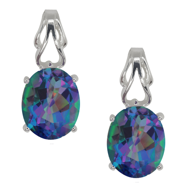 4.60 Ct Oval Millenium Blue Mystic Quartz Sterling Silver Earrings
