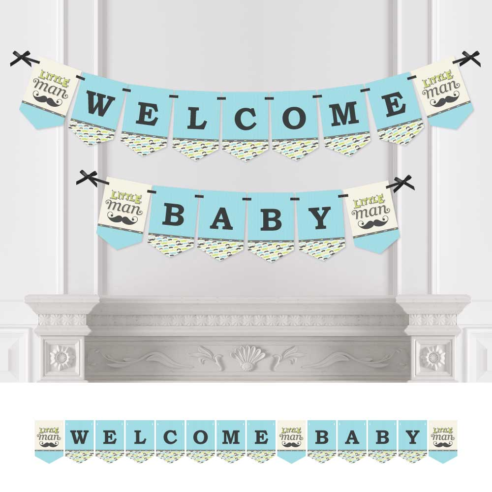 Dashing Little Man - Baby Shower Bunting Banner - Mustache Party Decorations - Welcome Baby