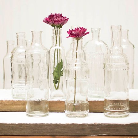 Table Decor Vintage Decanter Bottles Bud Vases Clear Glass