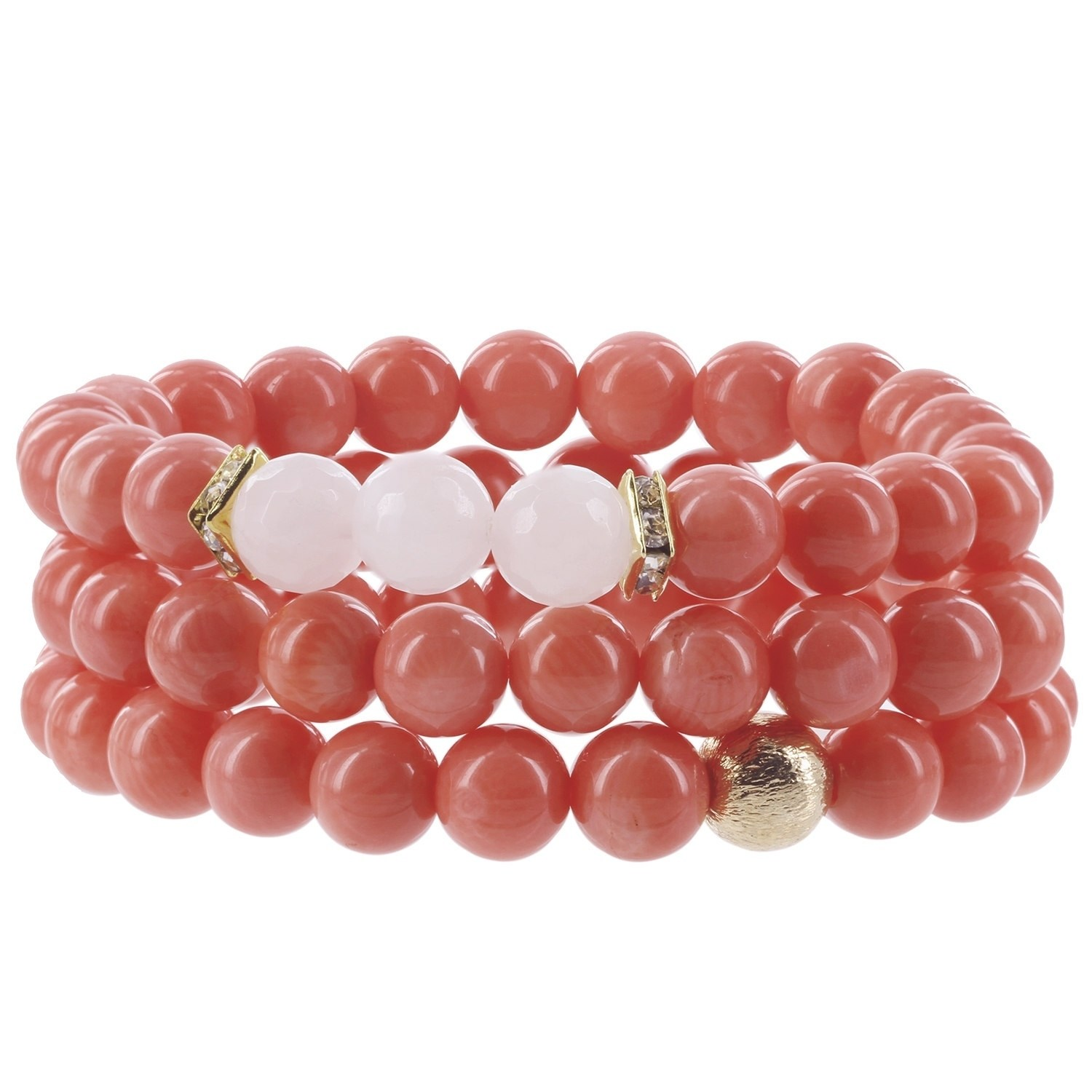 Fox and Baubles Eco-friendly Coral, Rose Quartz, Brass Bead and Crystal Spacers Beaded Stretch Bracelets (Set of 3) by Overstock