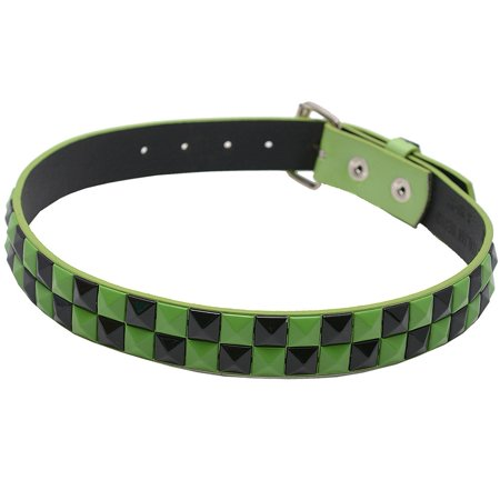"Girls Green Black Pyramid Studded Rows Classic Belt Medium 24-27"""