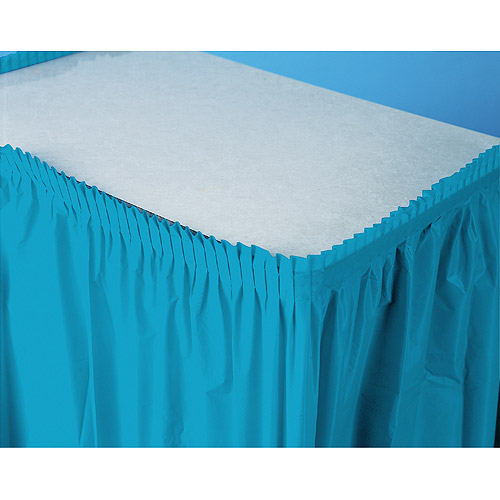 Plastic Table Skirt, Turquoise