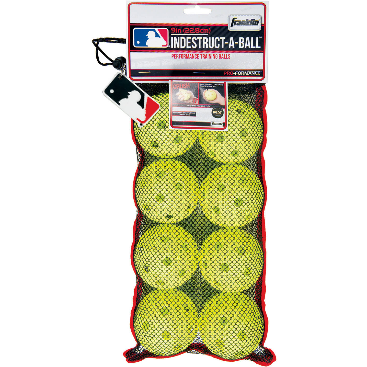 "Franklin Sports MLB 9"" Indestruct-A-Balls Baseball, Optic Yellow by Franklin Sports"
