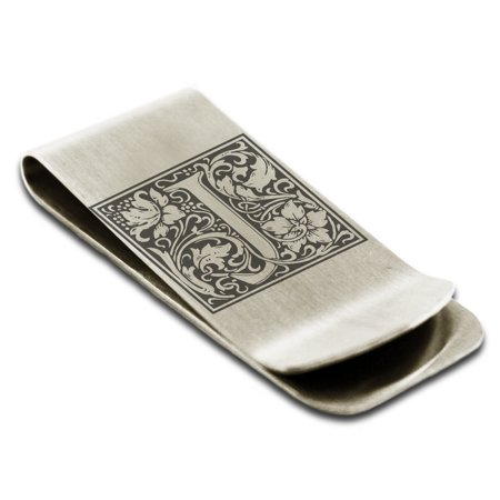 Laser Engraved Money Clip - Stainless Steel Letter J Initial Floral Box Monogram Engraved Engraved Money Clip Credit Card Holder