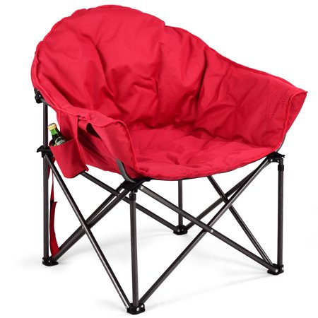 GHP 264-Lbs Capacity Red Polyester Wadding Steel Tube PVC Folding Camping Moon Chair