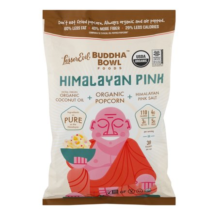 LesserEvil Budda Bowl Organic Popcorn Himalayan Pink 5 oz - Personalized Popcorn Bowl