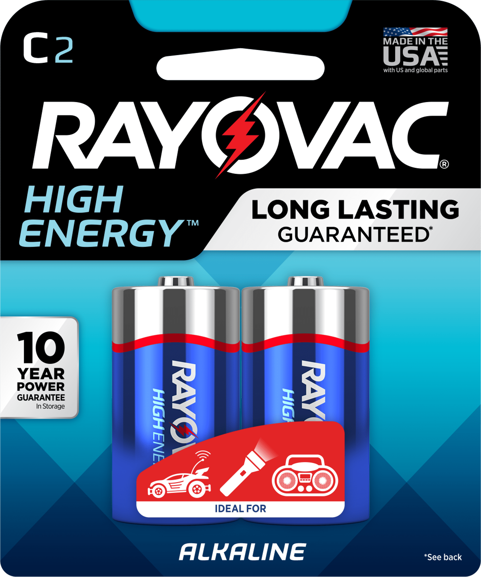 Rayovac High Energy Alkaline Batteries, Size C Batteries, 2-Pack ...