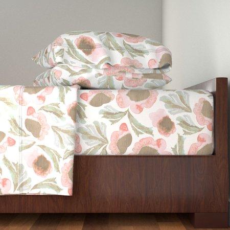 Farmhouse Garden Watercolor Floral Barn 100% Cotton Sateen Sheet Set by Roostery ()