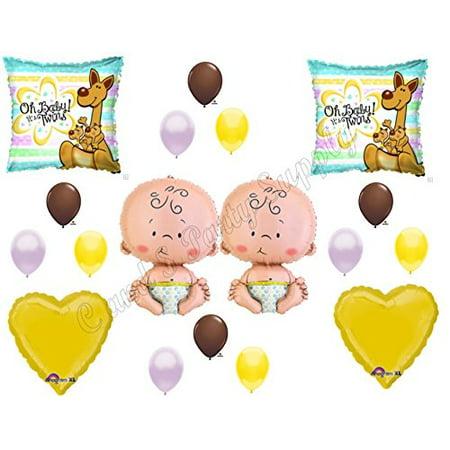 TWINS KANGAROOS BABY SHOWER Balloons Decoration Supplies It's a boy girl Newborn - Boy Girl Twin Baby Halloween Costumes