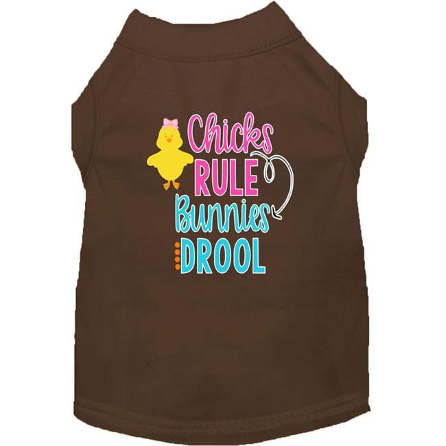 Chicks Rule Screen Print Dog Shirt Brown Sm (10)