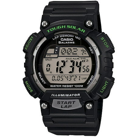 - Men's Solar Powered Runner Watch with Black Resin Strap with Yellow Accents