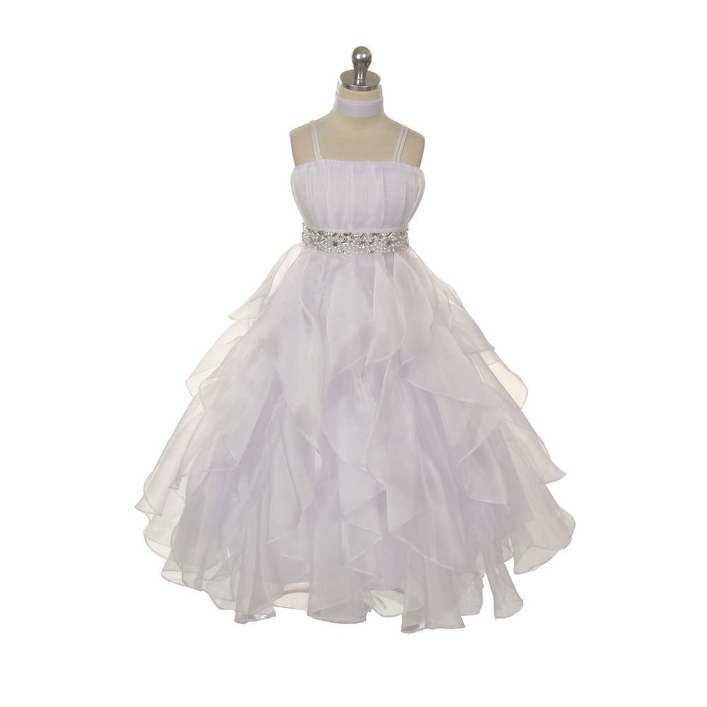 Chic Baby Girls White Vertical Ruffle Junior Bridesmaid P...