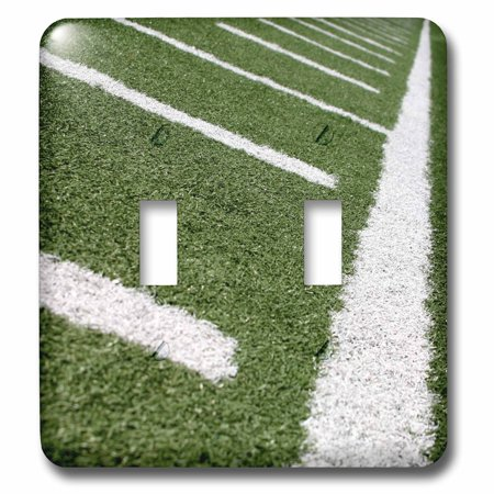 3dRose Football field with large yard markers. - Double Toggle Switch