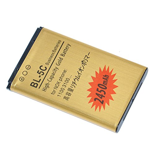 Online-Enterprises 2430mAh BL-5C Gold Business Battery / Overheat / Overcharge protection built in / for Nokia 1100 1101 1110 1112 1200 2600 2610 2626 2700 6267 6270 7600 7610 C2-03 E50 E60 M-Gage