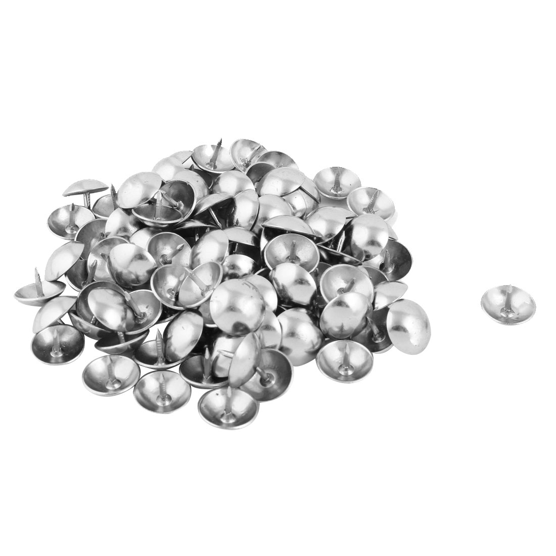 Table Case Metal Upholstery Thumb Tack Nail Pushpin Silver Tone 14 x 12mm 100pcs