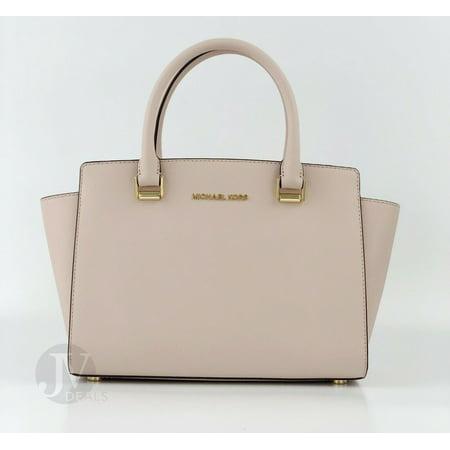 Michael Kors Selma Medium Top Zip Saffiano Leather Satchel Handbag Zip Leather Satchel