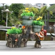 SINTECHNO Cute Gnome with Little Bird on Tree with Three Flower Pots