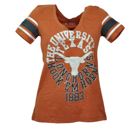 Texas Longhorns Ncaa College Tailgate - NCAA Texas Longhorns Burnt Orange Heart Tshirt Tee Short Sleeve Womens XSmall