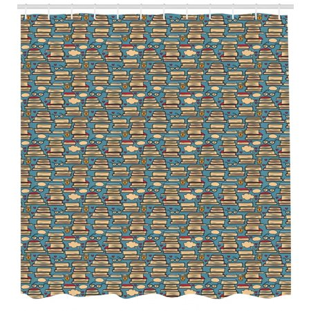 Book Shower - Geek Shower Curtain, Repeating Pattern with Stack of Books Combined with Hearts Coffee and Nerd Glasses, Fabric Bathroom Set with Hooks, 69W X 70L Inches, Multicolor, by Ambesonne