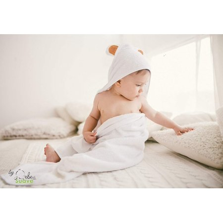 Organic Baby Hooded Towel for Bath | Ultra Soft, Quick Dry, Plush Feel - Premium Baby Shower Gift for Boy or Girl - Infant Towel & Toddlers and Newborn All Natural Bamboo, White with Cute Bear Ears Extra Plush Hooded Towel