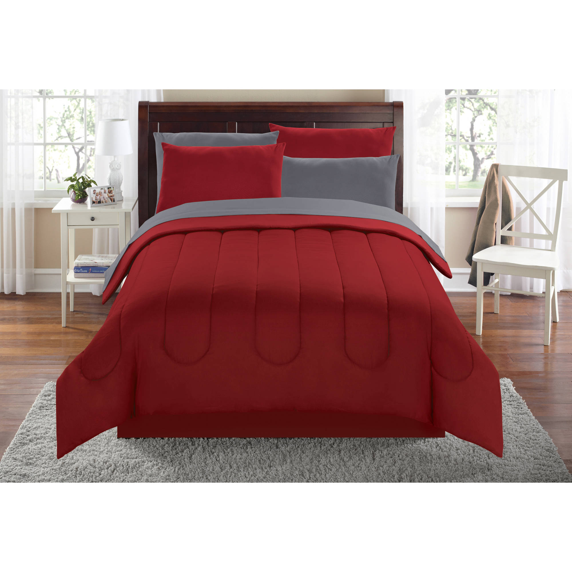 Mainstays Solid Bed In A Bag Coordinating Bedding Set. Product Variants  Selector. Red