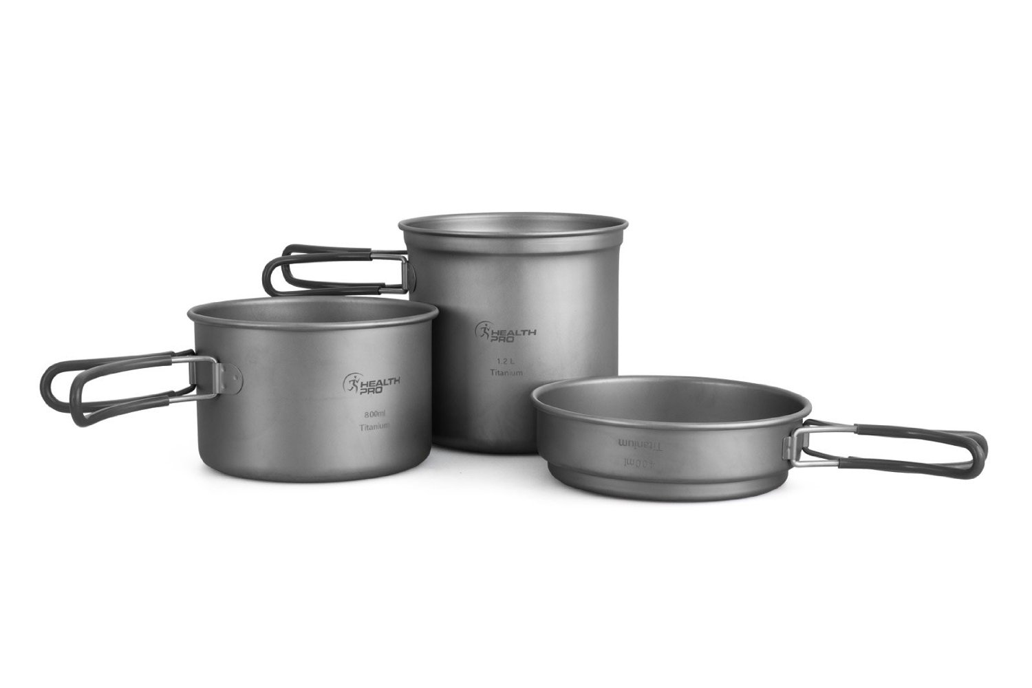 HealthPro Titanium Lightweight 3-Piece (1.2L, 800ml, 400ml) Pot and Pan Camping Hiking Mess Kit Cookware Set by HealthPro