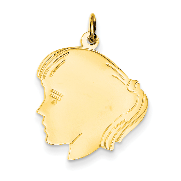 14K Yellow Gold Girl Head Charm - image 2 of 2