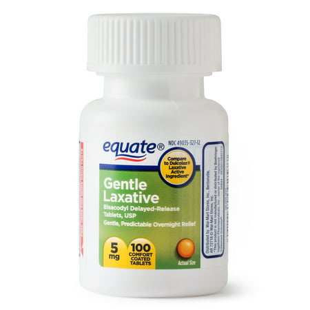 (3 Pack) Equate Gentle Laxative Bisacodyl Coated Tablets, 5 mg, 100 Ct