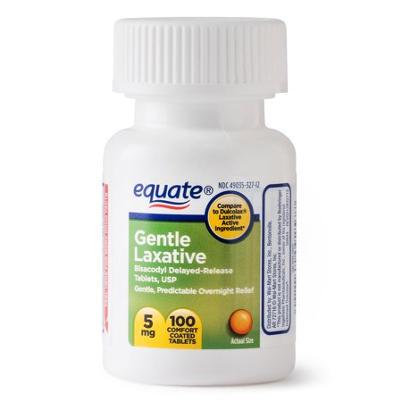 (3 Pack) Equate Gentle Laxative Bisacodyl Coated Tablets, 5 mg, 100 (Best Immediate Constipation Relief)