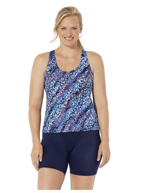 swimsuits For All Women's Plus Size Racerback Tankini Set with Bike Short