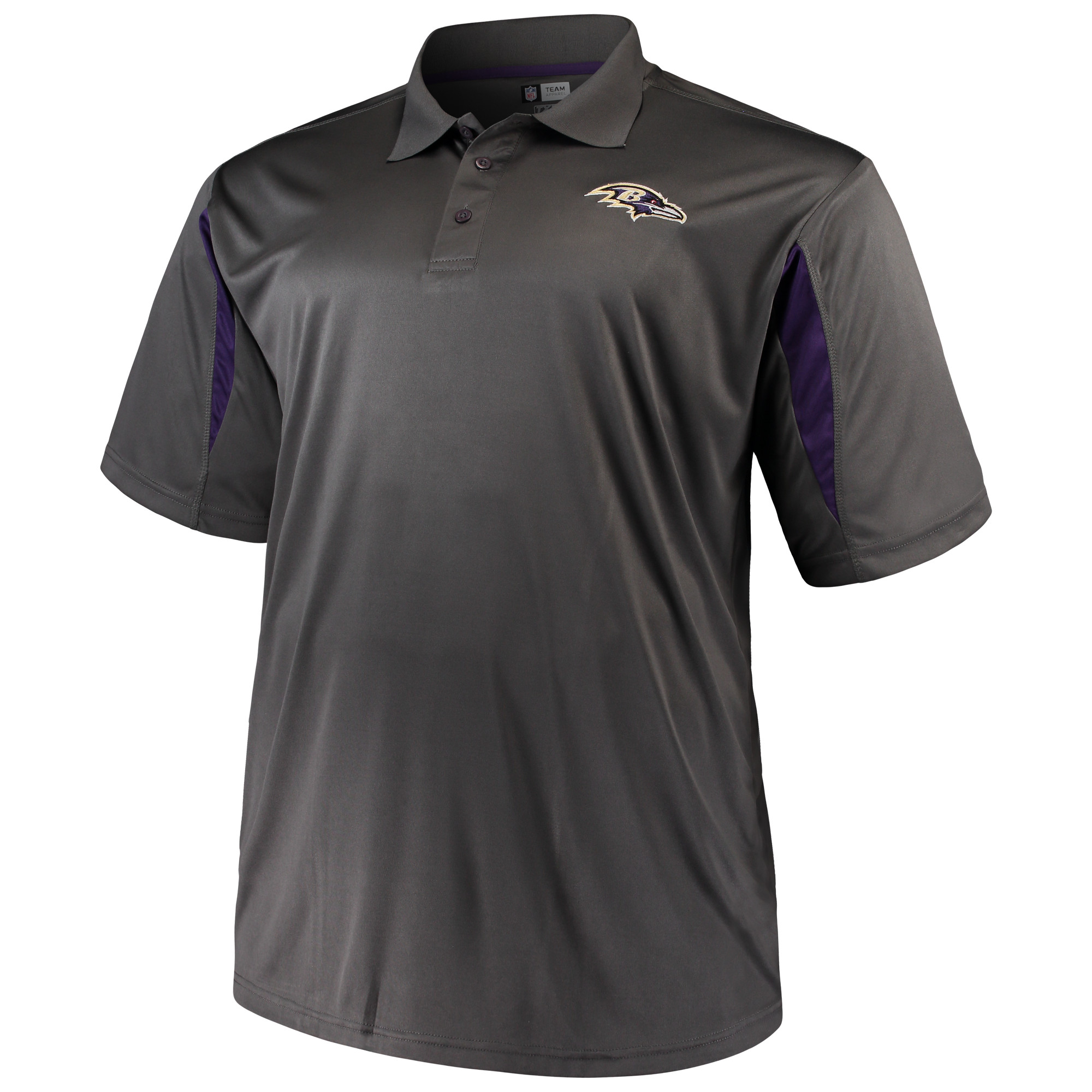 Men's Majestic Charcoal Baltimore Ravens Big & Tall Pieced Polo